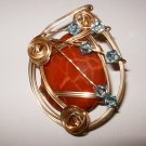 """14 k gold filled wire wrapped faceted jasper pendant w/ 18"""" gold chain"""