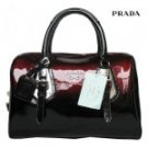 Red/black distinctive Prada handbag