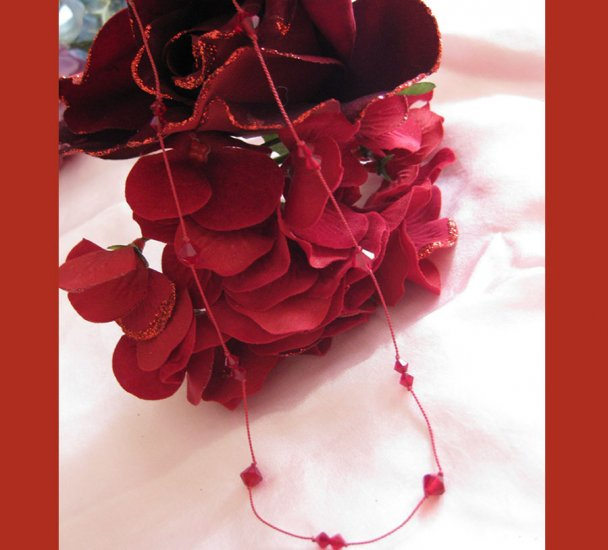 Romancing in Red Crystal handmade necklace