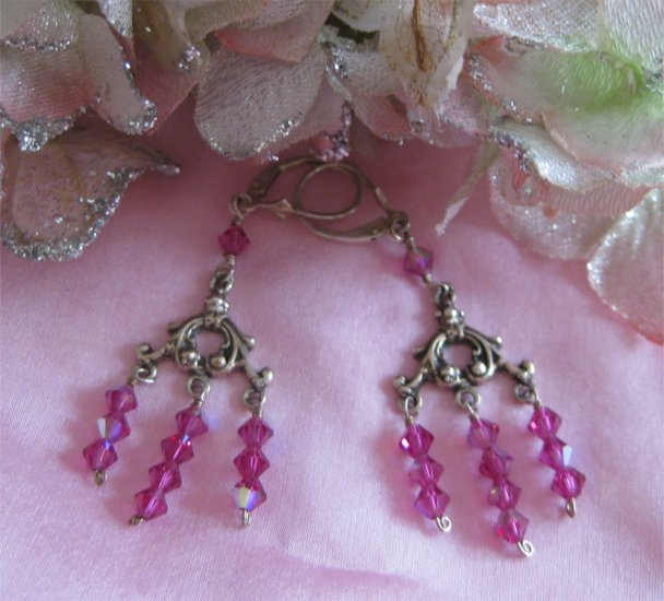 Sterling silver Fushia AB crystal electric shock handmade earrings