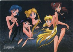 Usagi, Mina, Lita, Rei, and Ami in partial nude pose Shitajiki