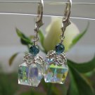 Simple clear cube crystal earrings with blue accents