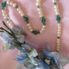 Pearl, green onyx, and olivine crystal simple necklace