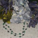 Green pearl and Hematite star stone silk necklace