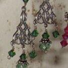 Green Celtic chandelier earrings