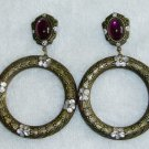 La Contessa (Signed) Beautiful Wine earrings in antique colors