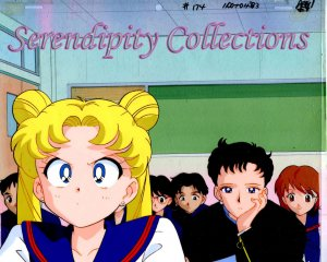 Sailor Moon & Seiya animation cel w/ background