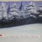 (Kyo Kara Maou) Snowey hill with snow covered trees production background