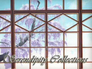 Pretty window view of wisteria tree production backgronud