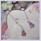 Lavender Butterfly w/ amythest wheel, threadder earrings (Sterling silver)