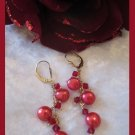 Red button Pearl bubble earrings (Gold Filled)
