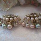 Pastel pearl double fan earrings (vintage)