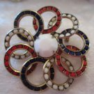 Multi colored overlap circle broach (Vintage)