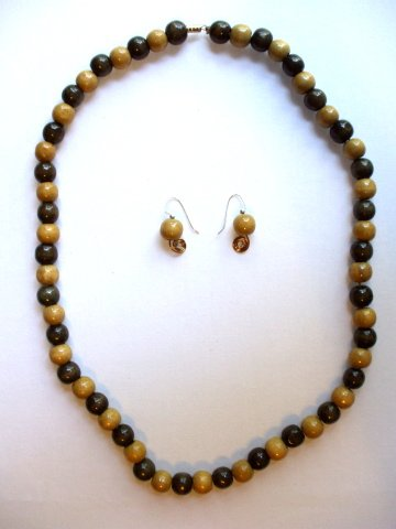 Brown Wooden Bead Necklace and Ear Rings Set