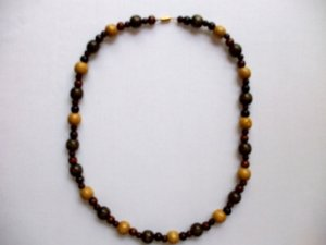 TriColor Wood Bead Necklace
