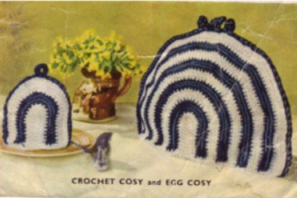 Vintage 1950's Crochet Striped Tea and Egg Cozy Pattern Cosy Reproduction PDF Wee Designs