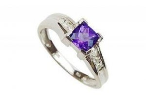 Amethyst and Diamond Ring : 14K White Gold - 0.75 CT TGW - Ring-4668001 - (Stock:100 in ea. size)