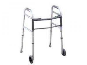 """Aluminum Two Button Folding Walker W/ 5"""" Wheels-9317575 - (stock:50)"""