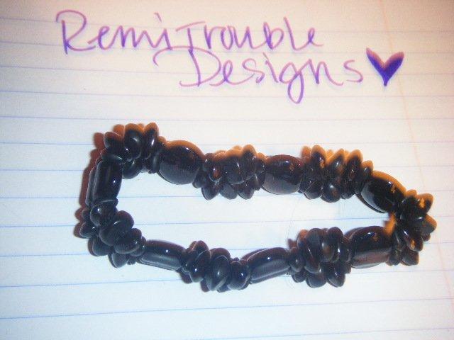 thin black beaded bracelet