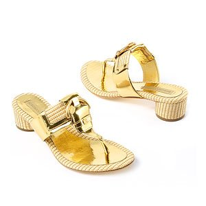 Teri Straw & Leather Thong Sandal