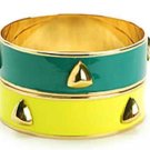 AV Max 2 Piece Pyramid Stud Gold Plated Bangle Set Lot