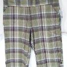 NY Collection Green Plaid Bermuda Shorts Capris 6 NEW