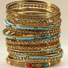 Cara Couture 32 Pc Bangle Set Goldtone Turquoise Stone