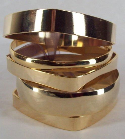 AV Max 5 Piece Geometric Gold Plated Bangle Set Lot