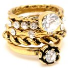 Amrita Singh Betty 5 Stack Rings Crystal Sz 8 NEW $100