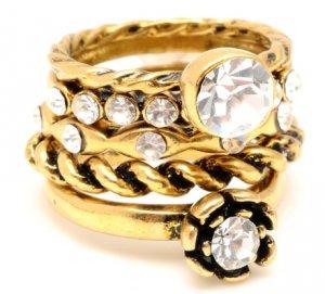 Amrita Singh Betty 5 Stack Rings Crystal Sz 8 NEW $100