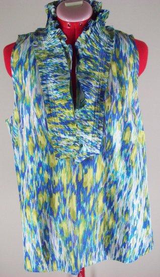 Kenar Silk Print Ruffle Fan Tank Top Sz L NEW $42