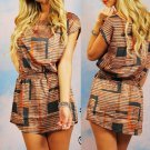 Miami Orange & Gray Shift Dress Tunic Sexy NEW S M L