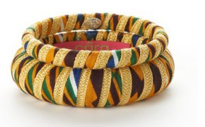 Cara Couture Yellow Ethnic Print Fabric 2 Piece Bangle Set NEW $105
