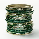 Chamak by Priya Kakkar Set of 12 Green & White Crystal bangles NEW $180