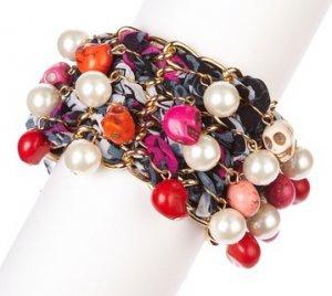 NEW $99 Meghan LA Fabulous Gold Link Skull Bobble Charms Purple Scarf Bracelet