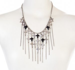 NEW $89 Meghan LA Fabulous Silver Cross Charm Fringe & Glass Bead Necklace