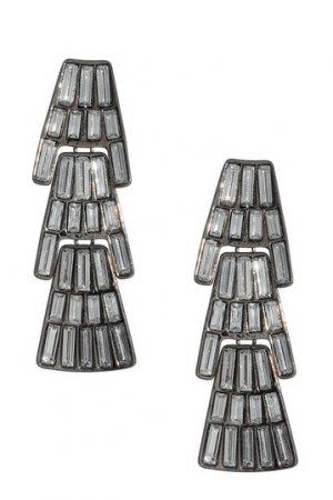 Amrita Singh Eleanor Austrian Crystals Gunmetal Chandelier Earrings NEW Ret $120