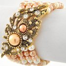 NEW Brown & Cream Faux Pearl & Rhinestone Multi Row Stretch Bracelet