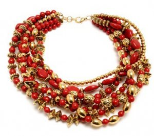 NEW Amrita Singh Ruby Red Multi-Strand Chalchi Aztec Necklace Chunky MSRP $250