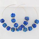"NEW Pave Ball Hoop Earrings Blue Silver Resin Acrylic Stone 3"" Hoops"