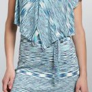 Stacia Blue Flutter Belted Knit Dress Size M NEW $275