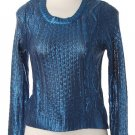 "NEW Coutori ""Sparkling"" Blue Sheer Metallic Knit Acrylic Sweater Sz S M L"