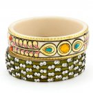 Chamak by Priya Kakkar Set Of 2 Peacock Bangle Bracelets NEW MSRP $115