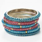 Chamak by Priya Kakkar Set Of 6 Blue & Pink Crystal Bangles NEW MSRP $110