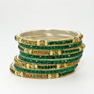 Chamak by Priya Kakkar Set of 8 Gold & Green Crystal Bangles NEW MSRP $90 WOW!!!