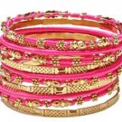 Amrita Singh Jaana Fuchsia 12 Piece Bangle Set Lot Size 8 NEW MSRP $100 KB364