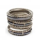 Amrita Singh Amila Silver 18 Piece Bangle Set Size 8 NEW $75 BBAS117