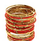 Amrita Singh Eileen Coral & Gold 33 Piece Bangle Set Size 8 NEW $100 BBM679