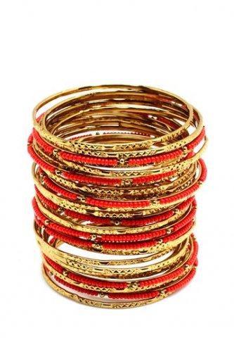 Amrita Singh Eileen Coral & Gold 33 Piece Bangle Set Size 8 NEW $100 BBM679
