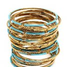 Amrita Singh Eileen Turquoise & Gold 33 Piece Bangle Set Size 8 NEW $100 BBM679